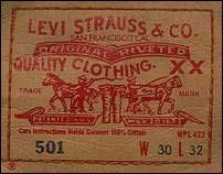 étiquette des jeans levi's