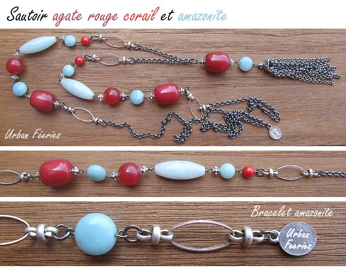 Sautoir agate amazonite bracelet Urban Feeries