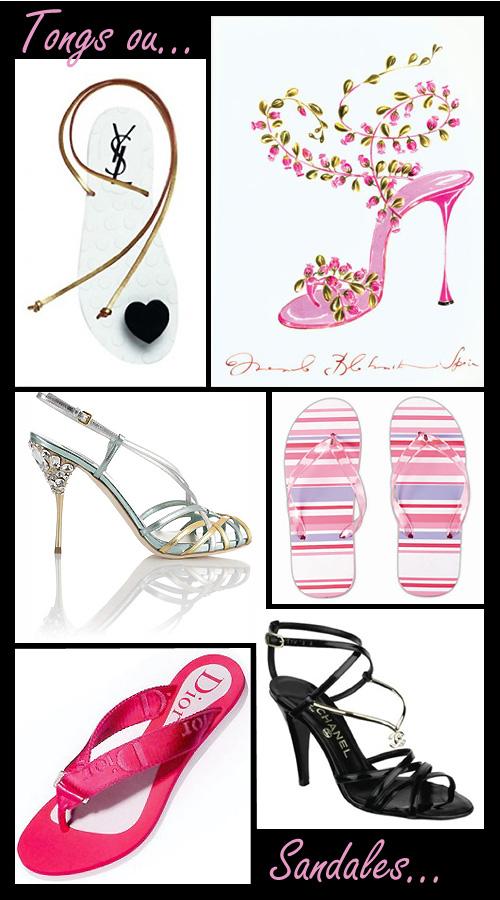 Tongs ou sandales Chanel Dior Miu Miu Manolo Blahnik