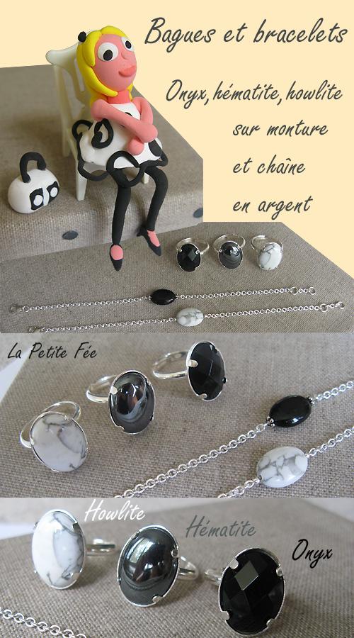Bracelets et bagues en pierres semi précieuses argent onyx hématite howlite