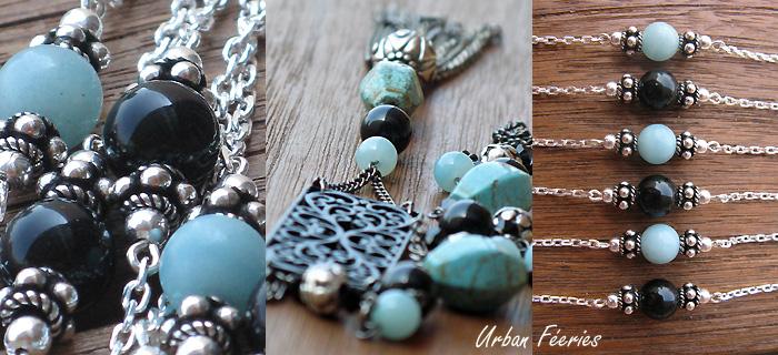 bracelet argent agate amazonite sautoir urban feeries