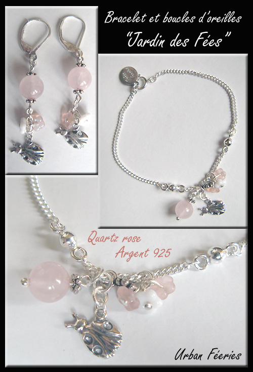 Collier Urban Féeries quartz rose amazonite