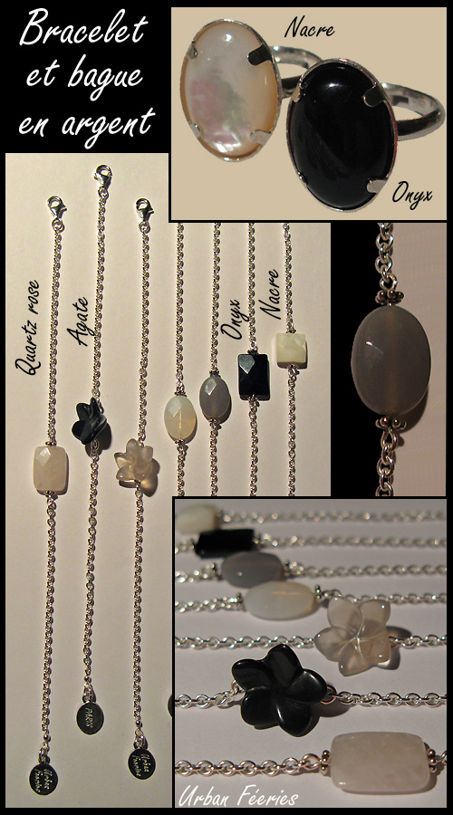 bague et bracelet en argent nacre onyx agate quartz rose