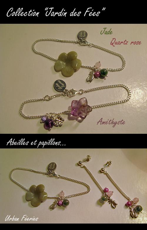 Bracelet et boucles d'oreilles jade quartz rose améthyste urban Féeries