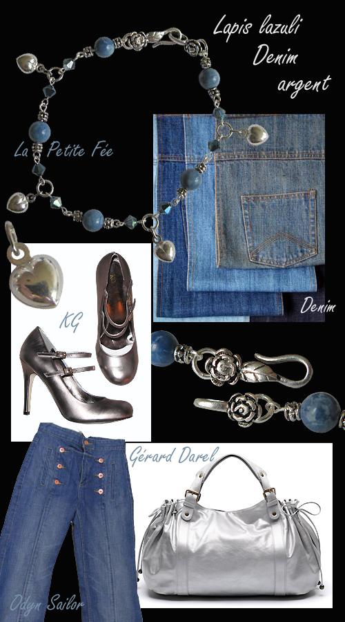 Bracelet en argent et lapis lazuli