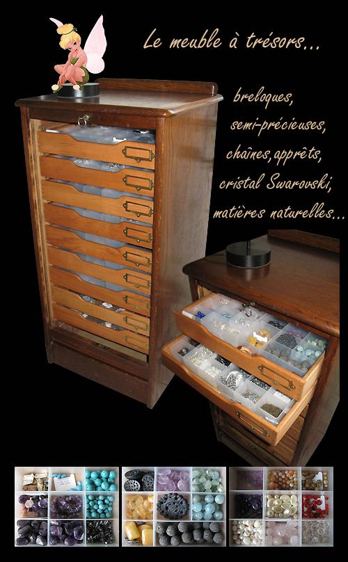 meuble à tiroir acheté aux puces pour trésors précieux