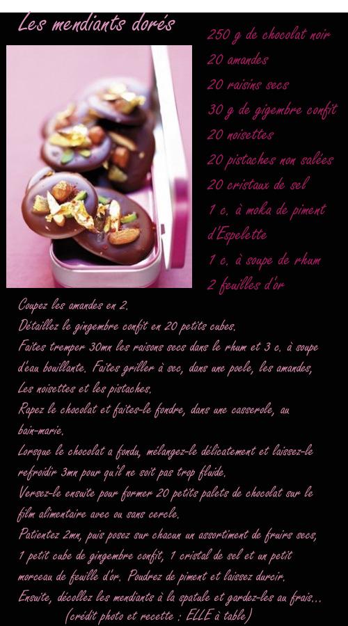 recette mendiants au chocolat