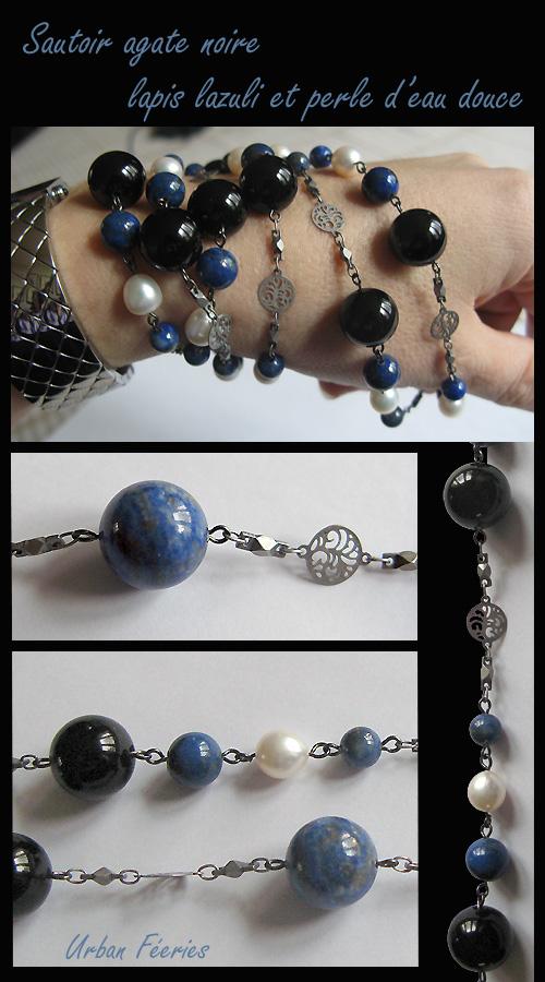 Sautoir Urban Féeries créations en agate lapis lazuli et perle