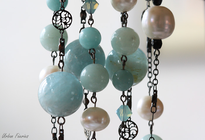 sautoir aigue marine amazonite perles de culture urban feeries