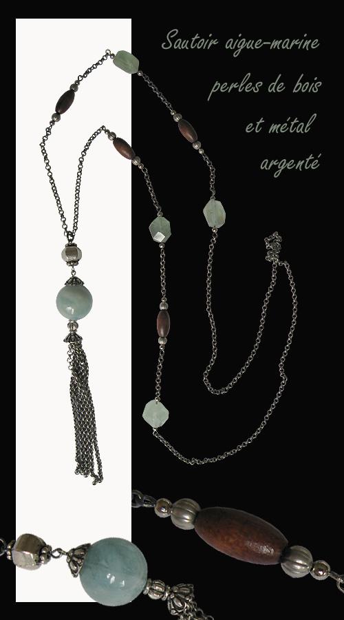 bijou sautoir en aigue-marine bois et métal argenté