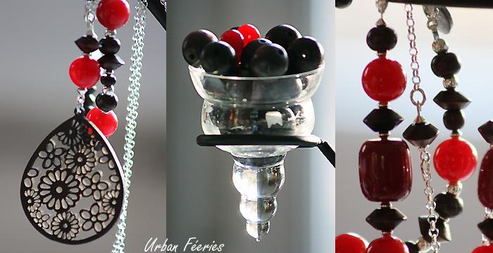 sautoir bracelet agate rouge ebene argent urban feeries