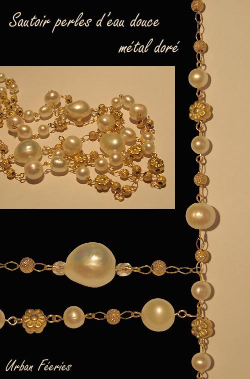 Sautoir Urban Féeries en perles d'eau douce et doré