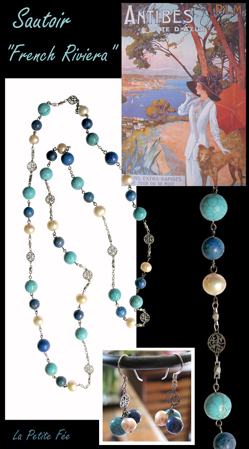 sautoir en lapis lazuli turquoise perles