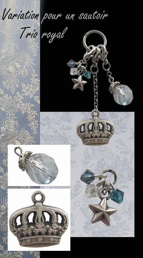 sautoir trois breloques couronne étoile et cristaux swarovski